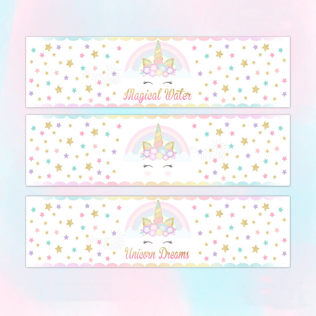 Customized Personalized Unicorn Water Bottle Labels ...