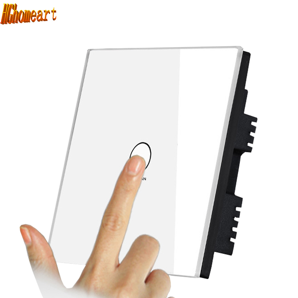 HGhomeart 110V-220V Led Home Lighting Power Switch Touch Controller Crystal Glass Switch Panel Touch Screen Wall Light Switches smart home wall touch switch white crystal glass panel 1gang1way 110 250v led indicator us light led touch screen switch