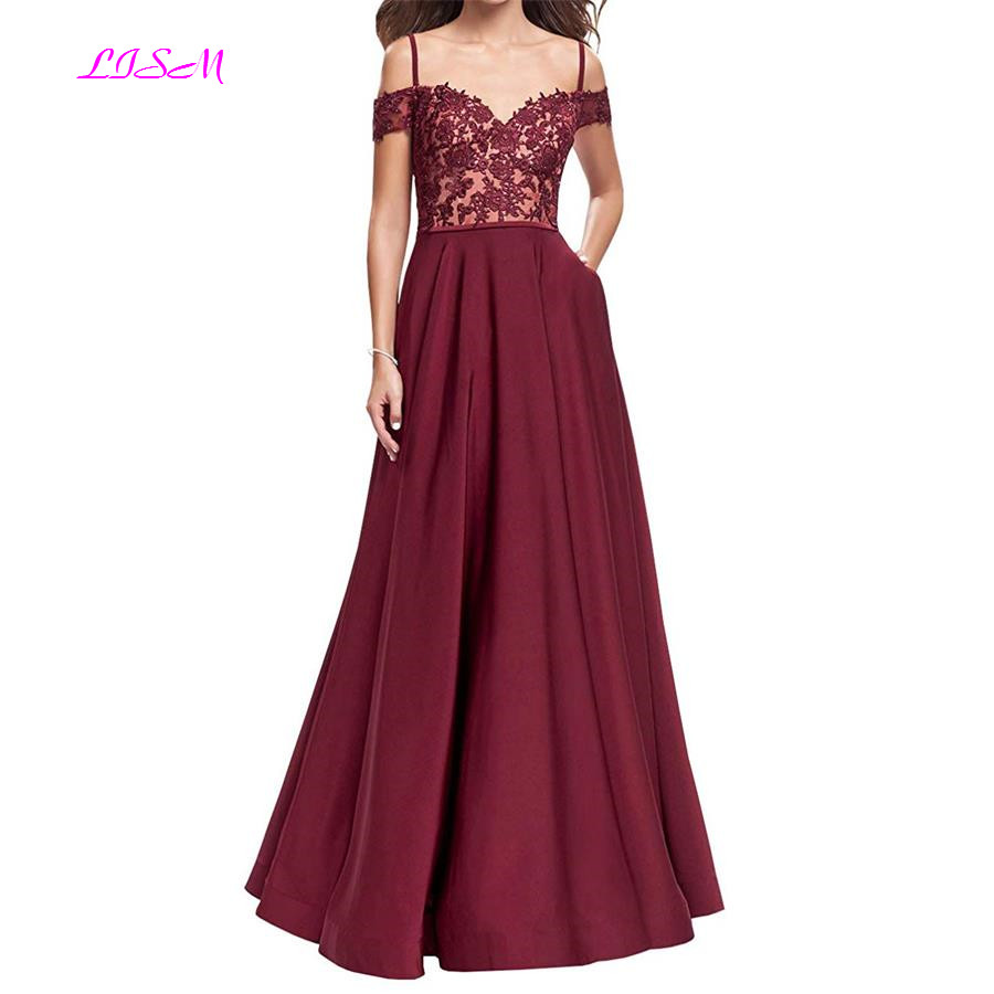 Off Shoulder Straps Long   Prom     Dresses   Girls Lace Appliques Satin Bridesmaid   Dress   A-Line Sleeveless Party Gowns vestidos de gala