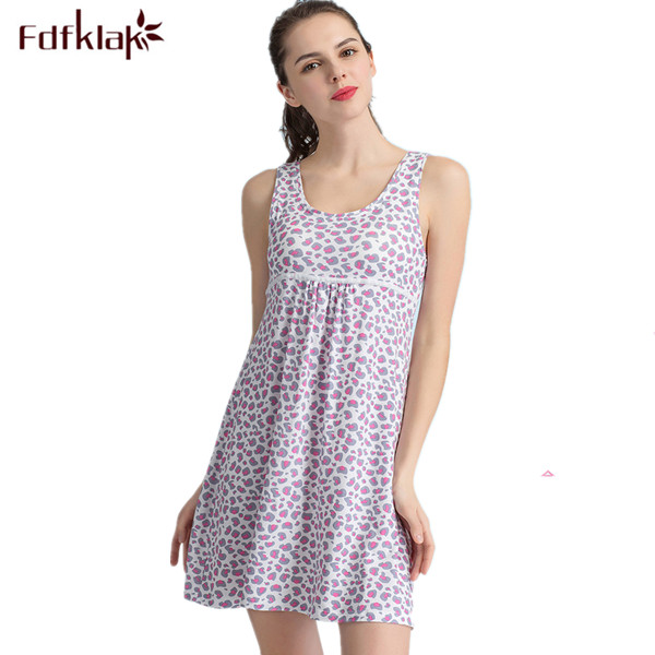 dac4e2e98e Sexy Nightdress Women s Lingerie Summer Sleeveless Print Sleepwear For Girl  Cotton Night Gown Women Elegant Nightgowns M-XXLQ288
