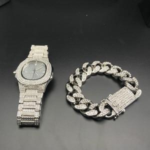 Image 5 - Роскошные мужские часы + браслеты, Модный комплект со стразами, с кубинской цепочкой Braclete, золотой, серебряный цвет, с кристаллами, с коробкой, 2019