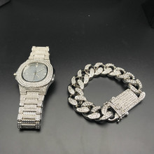 Hip Hop Mens Watches +Bracelets Set Fashion Diamond Iced Out