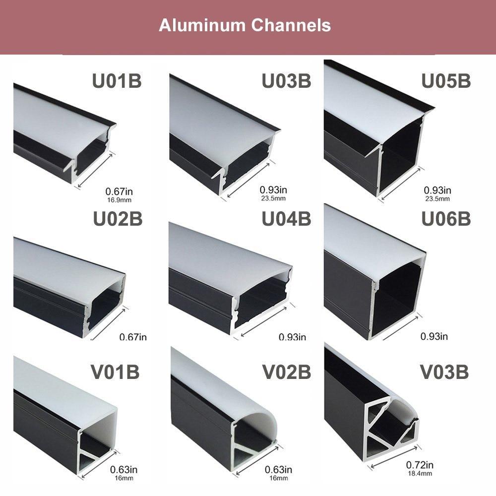 5Sets / lot 5x3.3ft / 1M Black 12mm LED алюминий - LED Жарықтандыру - фото 6