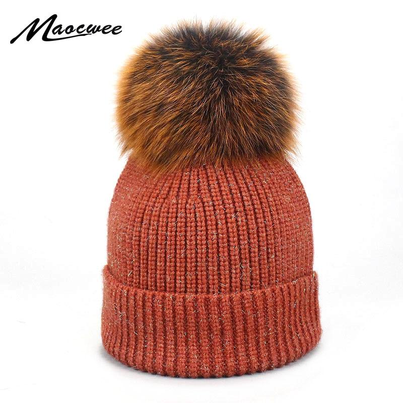 Women's Winter Hats Solid Autumn Winter Real Fox Raccoon Fur Pompom   Skullies     Beanies   Cotton Wool Warm Knitted Bright Silk Cap