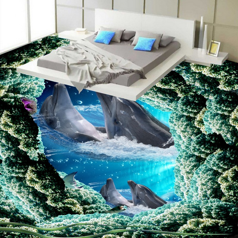 Free Shipping Dolphin Bathing flooring wallpaper living room office bathroom self-adhesive floor mural free shipping 3d living room dining room kitchen bathroom foyer waterproof self adhesive fish flooring wallpaper mural fh 023