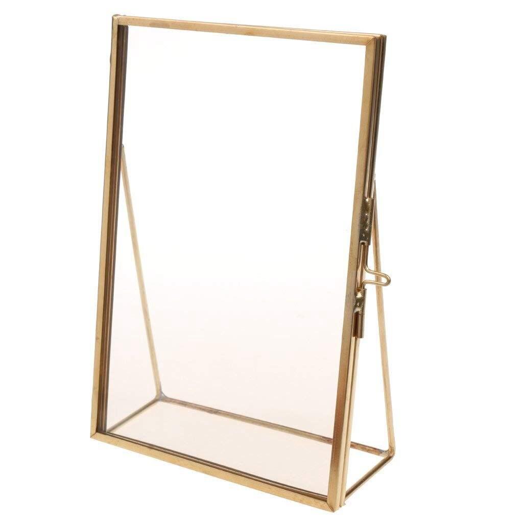 Simple antiguo Rectangular independiente transparente vidrio foto marco para decoración del hogar de oro
