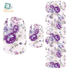 Rocooart K5707B Water Transfer Nail Art Sticker Gray Purple Flower Nails Foil Sticker Minx Harajuku Fashion