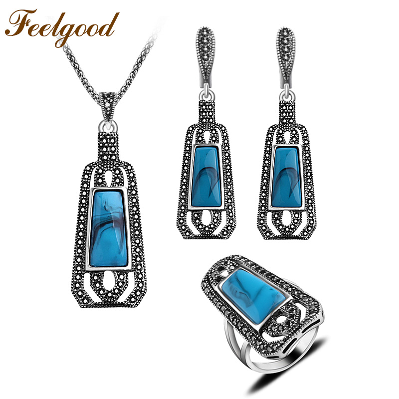 Feelgood Jewellery Blue Resin And Black Crystal Long Pendant Necklace Sets Vintage Silver Color Turkish Jewelry Sets For Women dr feelgood