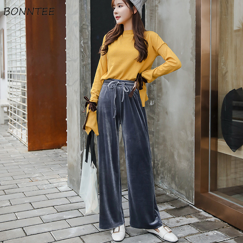 Pants   Women Winter Leisure Simple High Waist Sports Loose Drawstring Womens   Wide     Leg     Pant   Korean Style Pleated Ladies Trousers