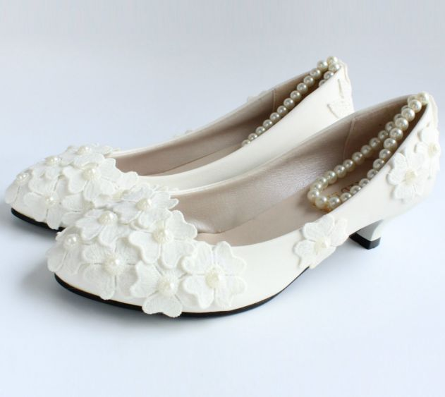 100% handmade fashion wedding pumps shoes for woman TG193 flowers ankle pearls straps ladies female party bridal pumps white