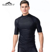 SBART Men Half Sleeve Swim Shirt Surfing Wear Quick Dry Waterproof Rash Guards Professional Beach Diving Wetsuit Swimwear