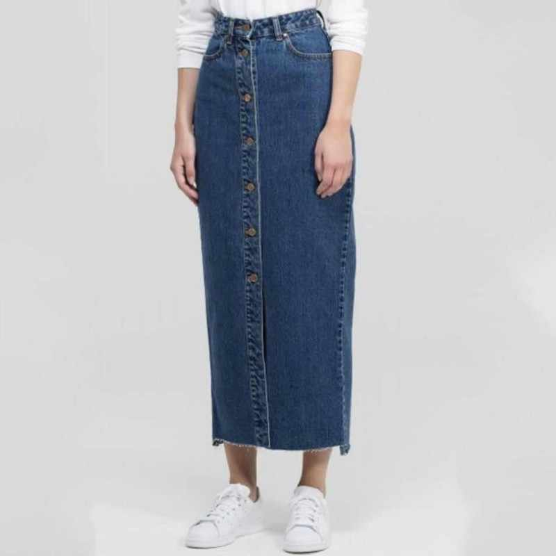 New Fashion Women Denim Skirt Skinny Single Breasted Casual Ankle-Length Jeans Skirts Lady 2019 Autumn Long Streetwear Female