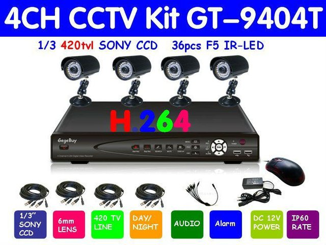 "Free shipping NEW 100% guarantee 1/3"" 420TVL Sony CCD ir waterproof cctv Security camera System kit 4ch GT-9404T"