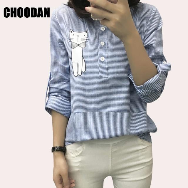 Blouse Shirt Female Cotton Linen 2017 New Summer Stripe Sweet Cartoon Cat Embroidery Shirts Women Tops Ladies Clothing