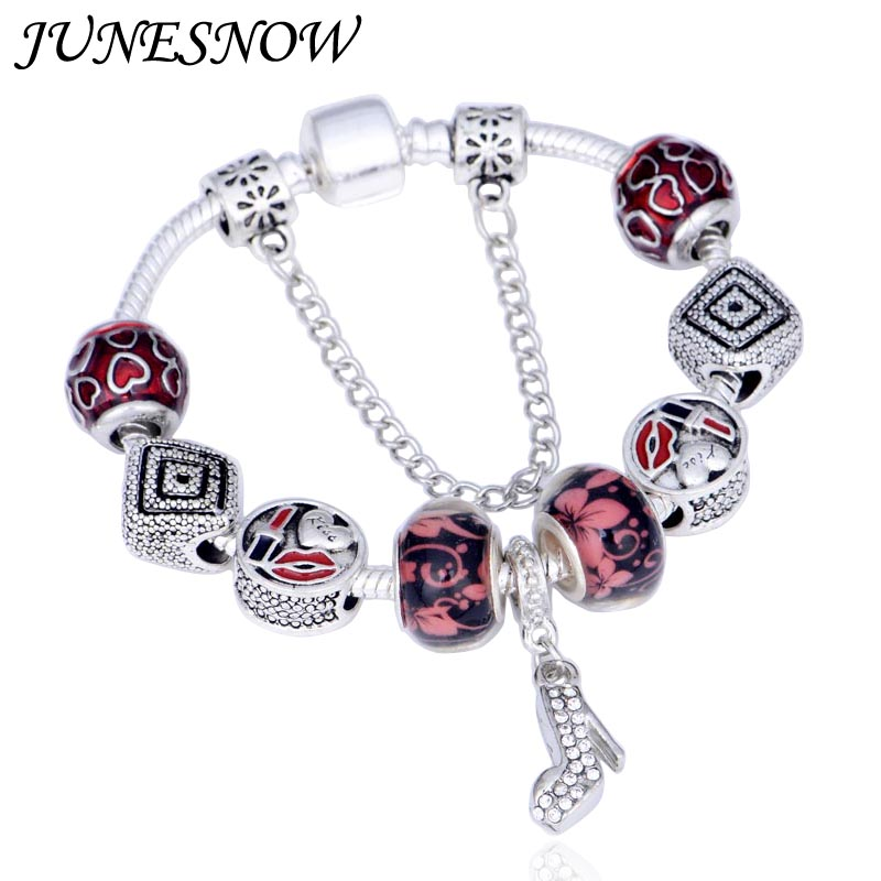 JUNESNOW European Bracelets With love Murano Glass Beads And Crystal shoes Pendant Fit Women Pandora Bracelet Jewelry