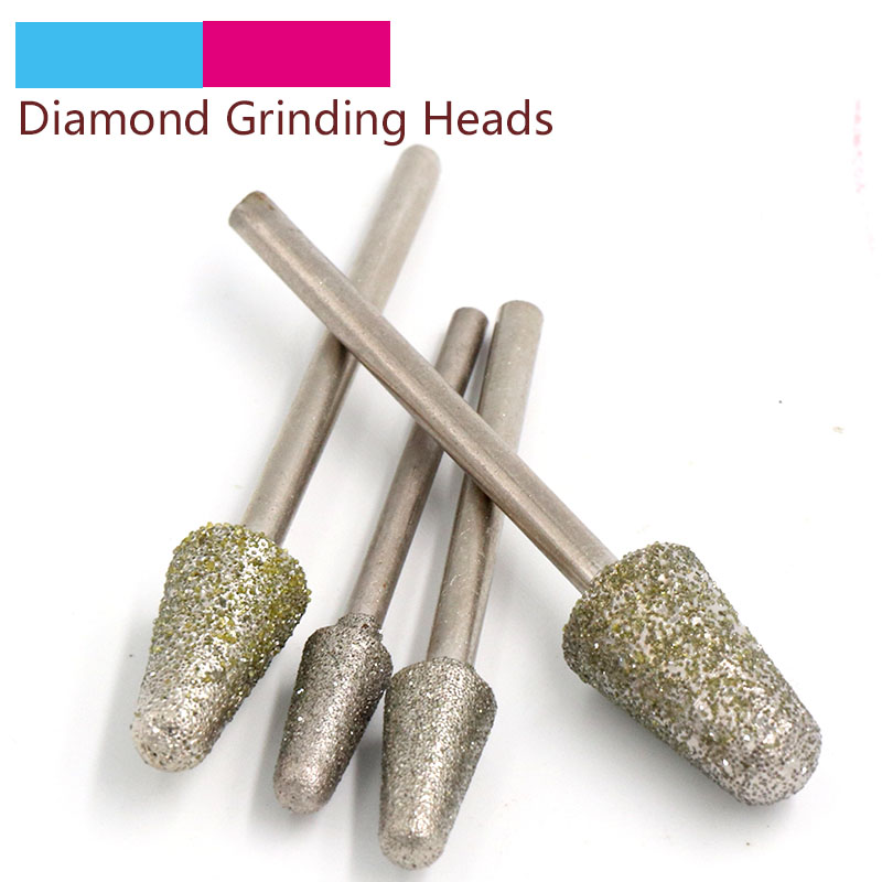 5pcs 2.35/3mm Shank B Diamond Grinding Head Bullet Coated Mounted Bit Burrs For Jade Metal Stone Dremel Rotary Tool Accessories
