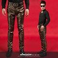 Novos homens de moda estilo estrela calças de couro fino calças Nightbar cantor desempenho masculino