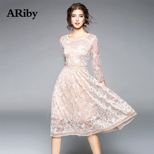 ARiby Women Fashion Elegant Lace Dress 2019 Spring Autumn New Office Lady Slim Patchwork Knee-Length Vestidos