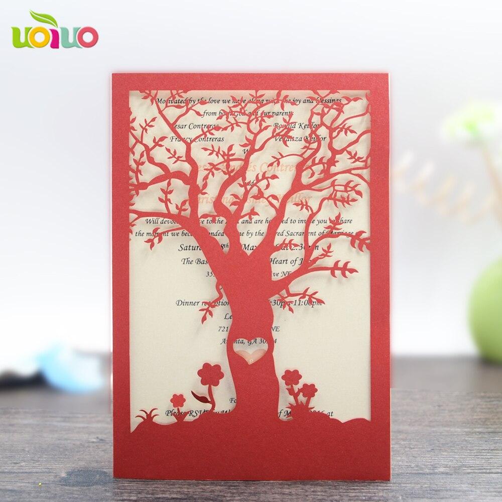 tree design laser cut luxurious wedding invitation cards cover ...