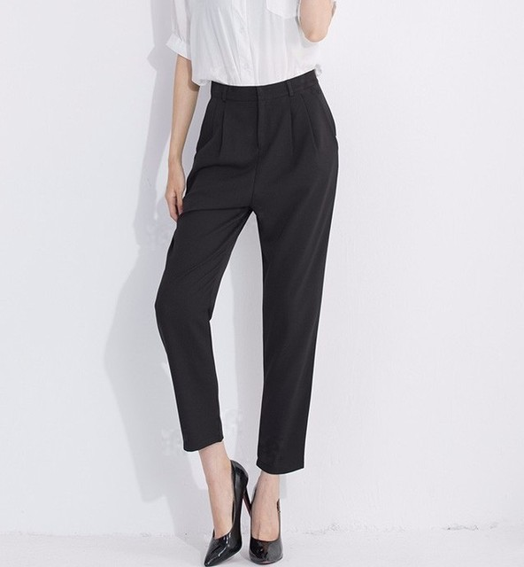 b9bb3dfe45e9 Spring Summer Black Harem Pants Women Office Wear Trousers Plus Size Loose  Pencil Pants Capris Female
