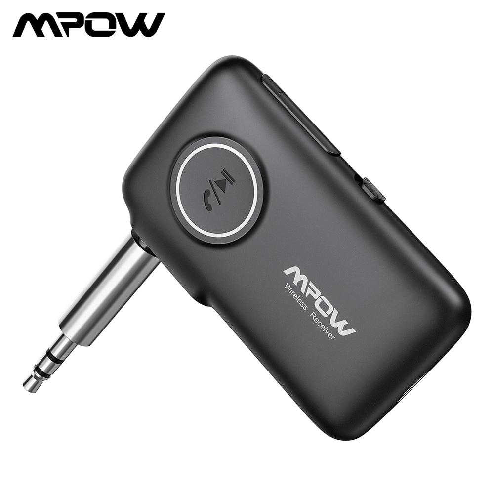 Mpow BH298 Adaptador Bluetooth Kit Mãos Livres Bluetooth 5.0 Receptor 3.5 milímetros AAC Com Speake 15H Playtime Para Fones De Ouvido cabo de Áudio AUX carro