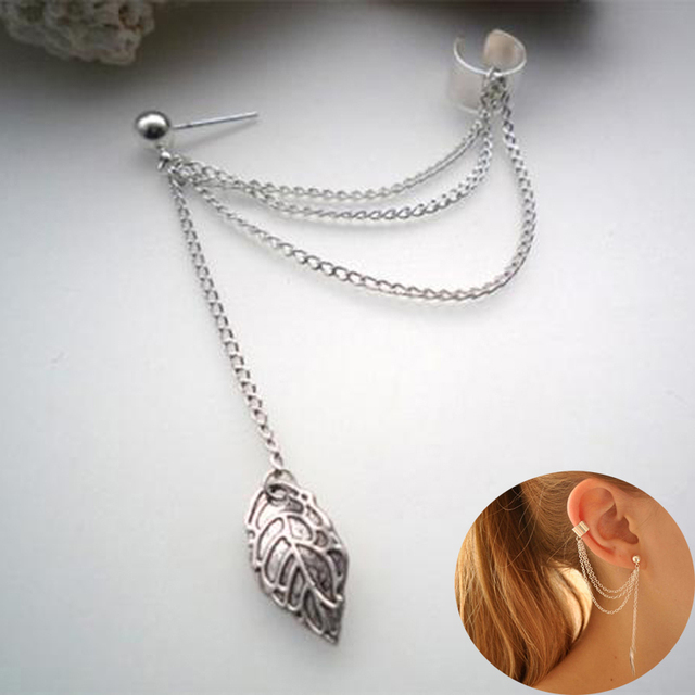 Damen 1 Stück Gothic Punk Silber Farbe Spike Quasten Clip Ohrringe ...