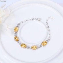 gemstone jewelry white golden 925 sterling silver natural citrine yellow crystal adjustable beaded bracelet for women