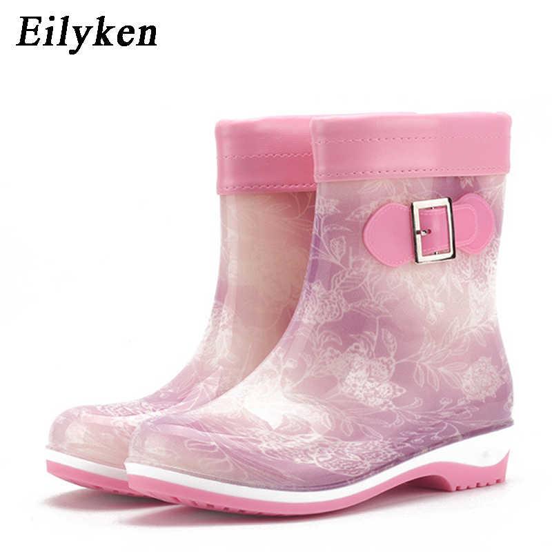 Eilyken kış yaz yağmur çizmeleri kadınlar için Anti-kayma sıcak botlar takozlar platformu ayak bileği yağmur ayakkabı lastik çizmeler boyutu 36- 41