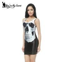 Free Shipping 2013 Original Gothic Style Punk Skull Tank Dress Women S Black Milk Tight Vest