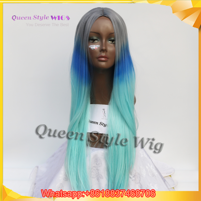 New Harajuku Pastel Color Hair Wig Female Grey Ombre Navy Blue Light