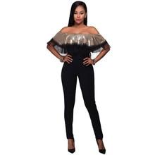 2017 Europe Sexy Elegant Jumpsuit Bodycon Sequin Bodysuit Formal Party  Strapless Off Shoulder Jumpsuits Romper Women e2fe3c22831b