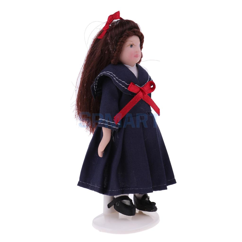MagiDeal Cute 1/12 Miniature Porcelain Doll Little Girl In School Skirt for Dollhouse People Figures Decor Home Office Ornament 1