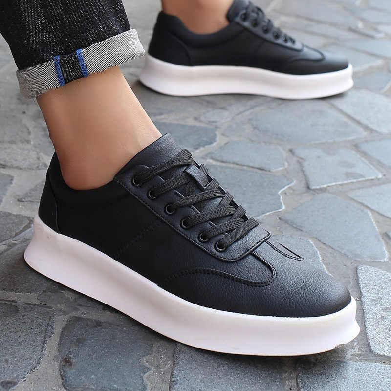 ใหม่มาถึงผู้ชายสีขาวแบนรองเท้า Lace-up รองเท้าผ้าใบสำหรับชาย tenis masculino adulto คุณภาพสูงผู้ชายสบายๆรองเท้า