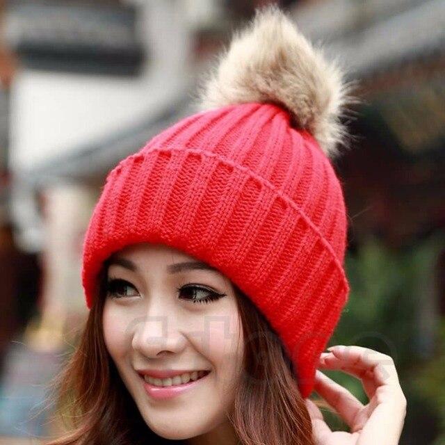 Vogue Women's Candy Beanie Knitted Caps Crochet Faux Raccoon Rabbit Fur Pompons ball hat Curling Ear Protect Women Beanies