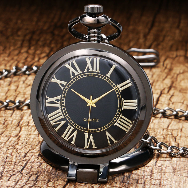 Steampunk Luxury Business Black Quartz Pocket Watch Standing Pendant Necklace with Chian Men Women Gift Reloj De Bolsillo P1021 black star wars galactic empire badge pattern quartz pocket watch with key chain male female clock reloj de bolsillo masculino