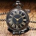 Steampunk Luxury Business Black Quartz Pocket Watch Standing Pendant Necklace with Chian Men Women Gift Reloj De Bolsillo P1021