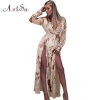 ArtSu 2018 Spring Women Long Sleeve Gold Sequins Party Dress Sexy V Neck Club Mesh Maxi