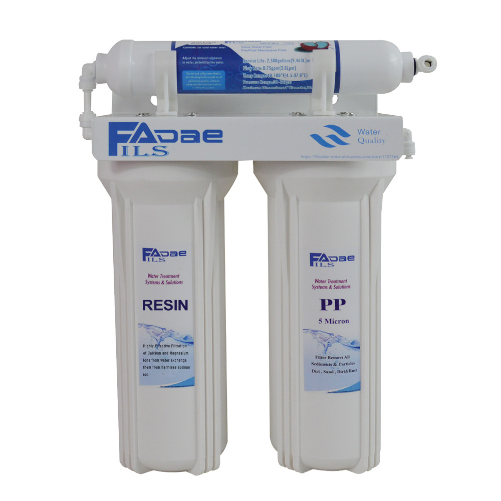 High Quality! 3-Stage Undersink Ion Exchange Resin Drinking Water Filtration, remove calcium and magnesium,1/4 Quick Connector image