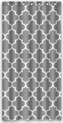 Classic Custom gris et blanc Quatrefoil Polyester tissu rideau de ...
