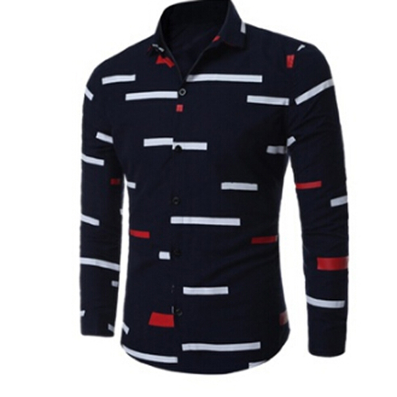 Bigsweety Plus Size 3XL Men Tops Shirts Autumn Slim Fit Long Sleeve Blouses Shirt Male Irregular Stripes Shirts With Button New