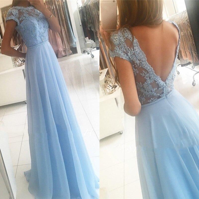 Cinderella Lovely Candy Color Cap Sleeves A-Line Lace Applique Crystal Chiffon Evening Dresses Vestidos De Fiesta De Noche