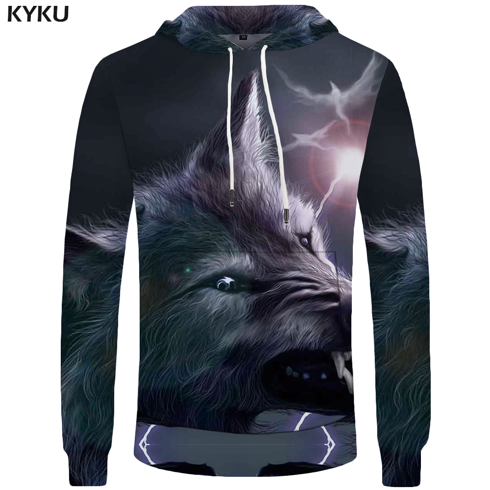 KYKU Wolf Hoodies Men Sun Sweatshirts Animal Sweatshirt Hoddie Mens Clothing Big Size 3d Hoodies Cool 2018 Fashion
