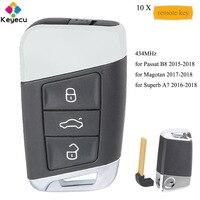 KEYECU 10 teile/los Ersatz Smart Remote Key Mit 3 Tasten & 434 MHz FOB für Volkswagen Magotan Superb A7 passat B8 2015 2018-in Autoschlüssel aus Kraftfahrzeuge und Motorräder bei