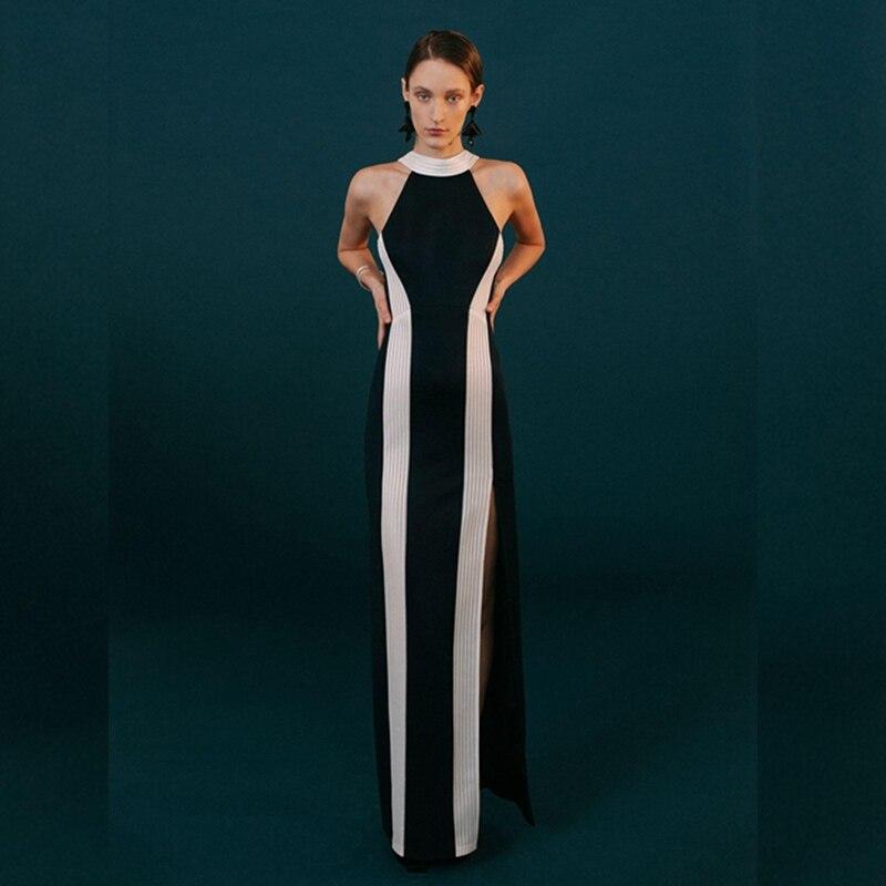 Sans Longue Maxi Party Robes Noir 2018 Moulante Celebrity Élégant Mode Sexy Patchwork Robe Femmes Nouvelle Bandage Manches Arrivée eWCoBQrdx