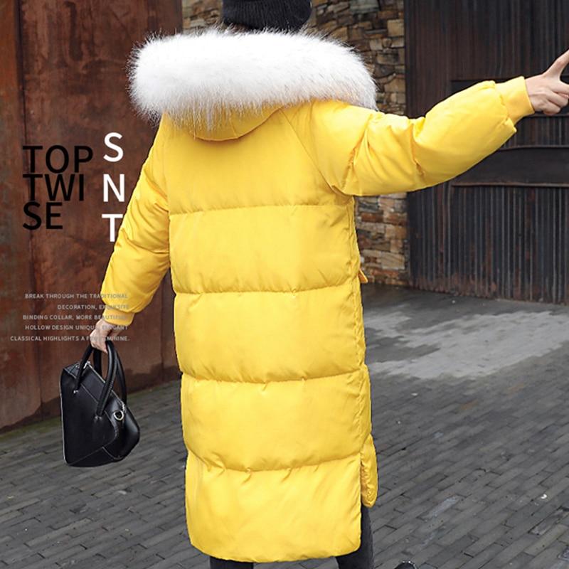 Fourrure Vers Capuchon Le Veste yellow Plus À Bas Femme Manteau Épais La Taille Naturel Femmes Réel D'hiver Jq546 Mode Long De Lâche white Vestes Nouvelle Parka Black Et Chaud dvPdw0xzq