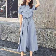 Summer Elegant Office Ladies Vintage Korean Style Blue Women Midi Dresses Stand Collar Button Pocket Sweet Female Fashion Dress(China)