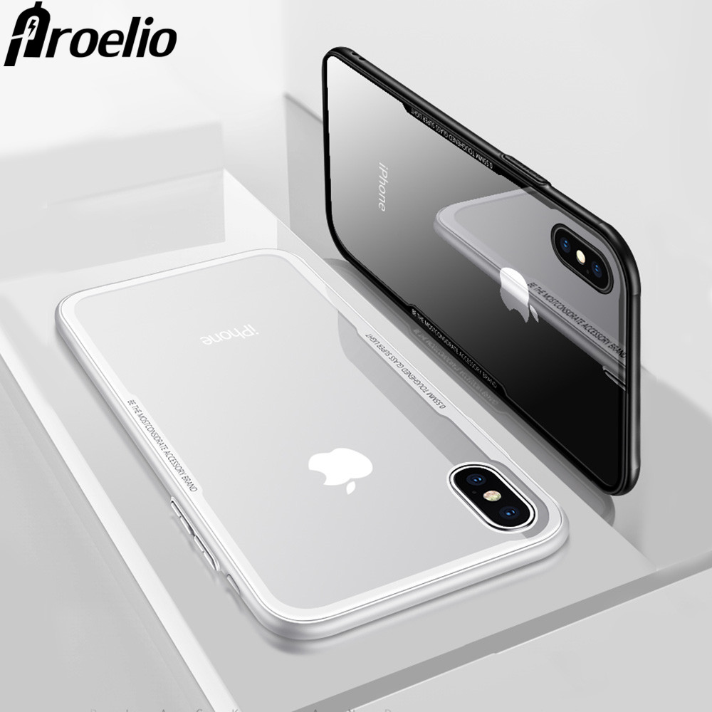 Proelio Transparent Case For iphone X 10 8 7 6S 6 Plus Tempered Glass Back Cover Soft TPU Bumber For Apple iphone 7 8 Plus Case