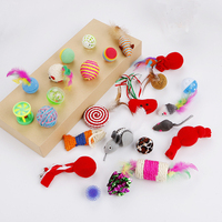 Pet Cat toy Set Plastic Bell Ball Mouse Sisal Ball Christmas Series Cat Toys Cats Interactive Products Color Randomly