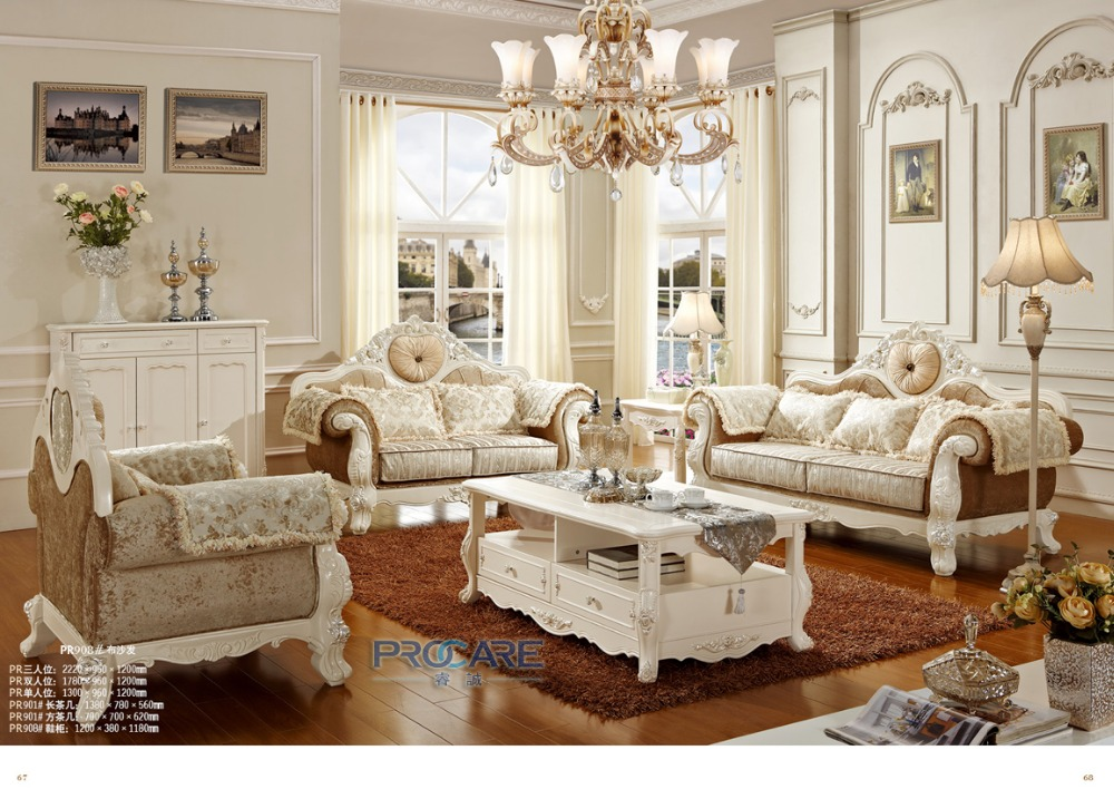 Luxury European Style Sofas For Living Room,oak Solid Wood Sex Furniture  Sofa PRF908