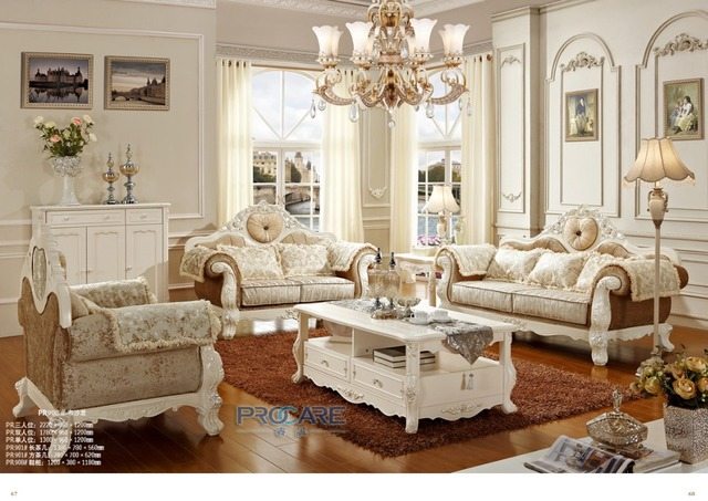 Luxury European Style Sofas For Living Room Oak Solid Wood Furniture Sofa Prf908